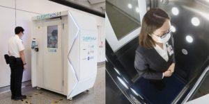"""Cabina de desinfeccion """"CLeanTech"""" de aeropuerto de Hong Kong - turismo después del coronavirus"""