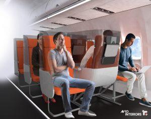 Aviointeriors - janus - prototipo de asiento de avion despues de la pandemia del coronavirus