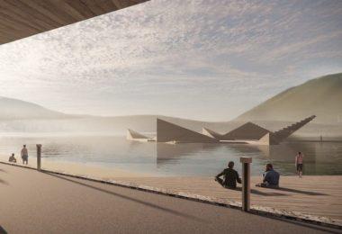 una piscina flotante en forma de estrella del mar - Bregen, Noruega